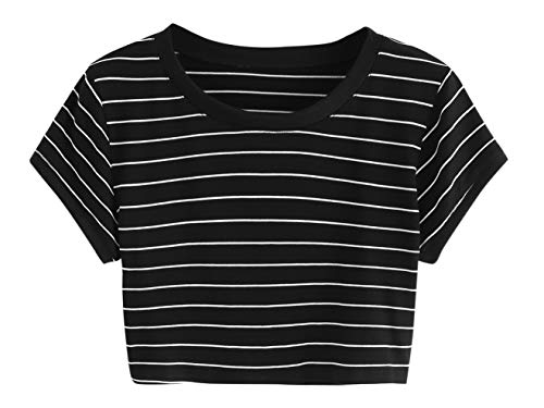 Girl Junior Ringer T-shirts - SweatyRocks Women's Striped Ringer Crop Top Summer Short Sleeve T-Shirts Black M