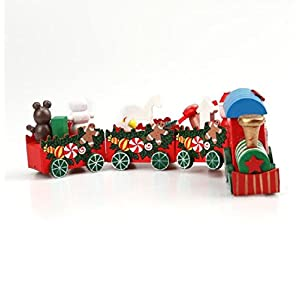 Vovotrade 1 Set Wood Christmas Xmas Train Decoration Decor Gift Christmas Stage Set (4PCS-B)