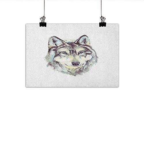 (Wolf Light Luxury American Oil Painting Hand Drawn Style Canine Portrait with Blue Eyes Watercolor Wildlife Illustration Home and Everything 20