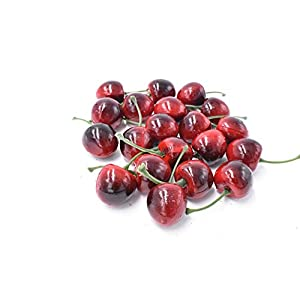 Pack of 20 Artificial Lifelike Simulation Small Red Black Cherries Fake Fruit Model Home House Kitchen Party Decoration Desk Ornament 30