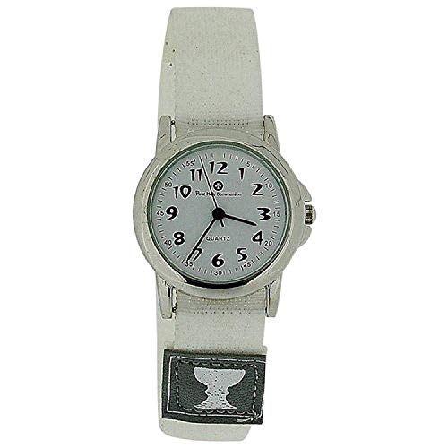 (Girls First Holy Communion Analogue White Dial Easy Fasten Strap Watch HOL04B)