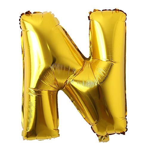 32 inch Letter Balloons Gold Alphabet Number Balloons Foil Mylar Party Wedding Bachelorette Birthday Bridal Shower Graduation Anniversary Celebration Decoration (32 INCH Gold N) ()
