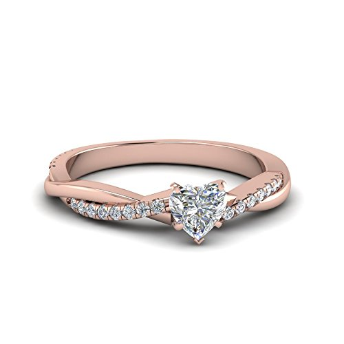 RUDRAFASHION Lovely 1.12ct Heart Shaped Lab Diamond 14K Rose Gold Over .925 Sterling Silver Engaement Wedding Infinity Twist ()