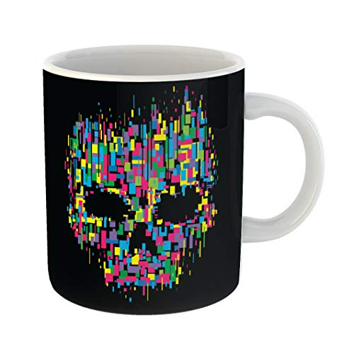 Emvency Funny Coffee Mug Watercolor Horror Skull Color