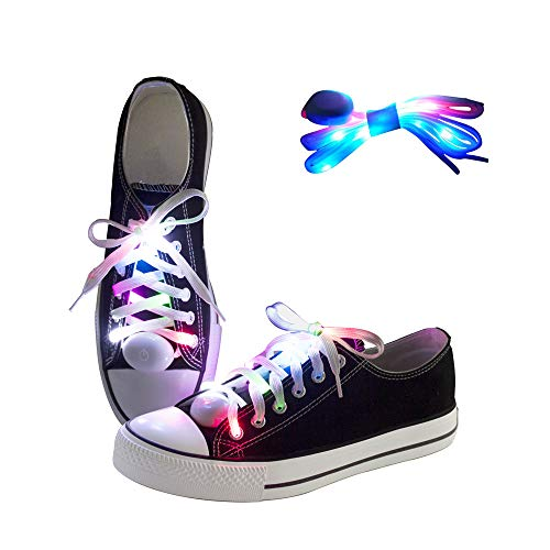 LKDEPO LED Shoelaces Light Up Nylon Shoe Laces with 3 Flashing Modes Lighting the Night for Christmas Gift Party Disco Dancing Cycling Hiking -