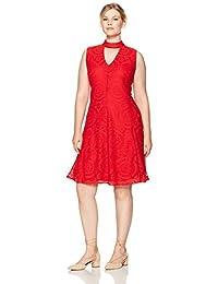 Womens Plus Size Sleeveless Lace Fit & Flare Dress w. Mock Collar