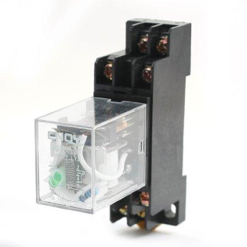 DC12V 10A DPDT 8Pin Green Lamp Motor Control Power Relay w Socket Base