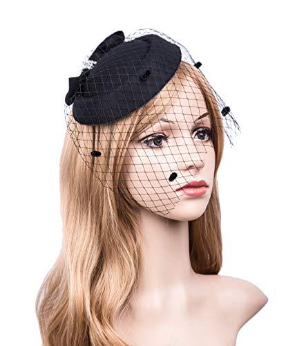 Vintage Fascinators 20s 50s Hat Pillbox Hat Cocktail Party Hat with Veil Hair Clip -