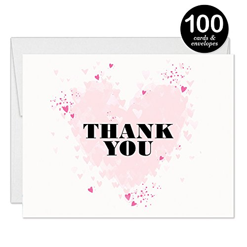 Bridal Shower Invitations & Thank You Cards with Envelopes Matched Set ( 100 of Each ) Beautiful Pink Hearts Write-in Invites & Bride's Wedding Party Gift Folded Thank You Notes Best Value Combo Pair by Digibuddha (Image #5)