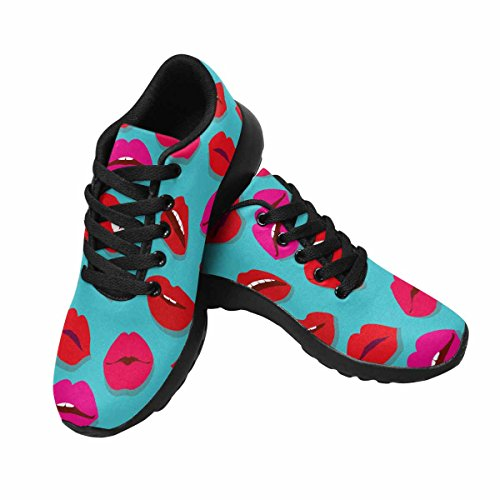 Interestprint Mujeres Jogging Running Sneaker Ligero Go Easy Walking Comodidad Casual Zapatillas De Running Sexy Lips Multi 1