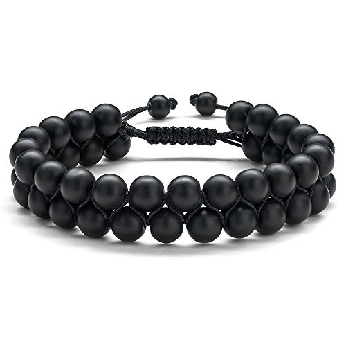 Bead Bracelet for Men Black Onyx - Mens Beaded Bracelet Natural 8mm Gemstone Mens Black Matte Onyx Agate Beads Bracelet Anxiety Stress Relief Men's Bracelets Jewelry Gifts for Men Women
