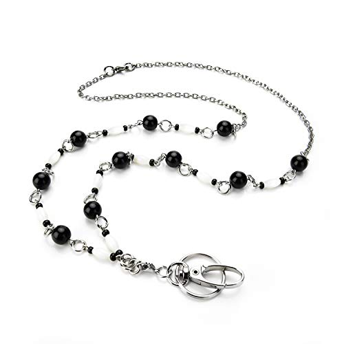 LUXIANDA Black and White Fashion Lanyard Necklace, Jewelry ID Badge and Key Holder for Keys,ID Card,Strong Chain Necklace, for OL,Teachers and Other Working Women, Stainless Steel Chain
