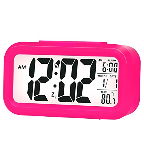 - ZLXING LED Backlit Sensor Touch Alarm Clock with Time/Date/Temperature Display Snooze Function Battery Operated (Pink)