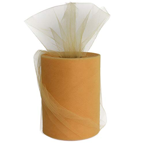 Old Gold Tulle Roll Spool 6 Inch x 100 Yards for Tulle Decoration