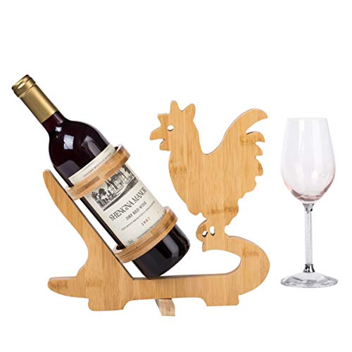 Natural Bamboo Folding Wooden Rooster Wine Rack 11.4 Inch Tall Bottle Holder Kitchen Tray Decoration Countertop Storage Farmhouse Decor Chicken