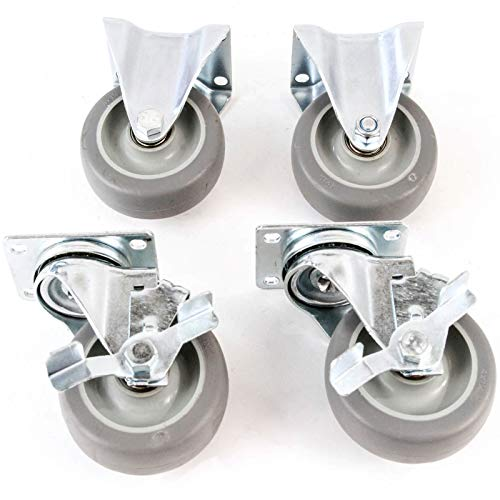 4) 4 Inches Caster Wheels Heavy Duty Set 2 Swivel 2 Side Brake No Mark Non -