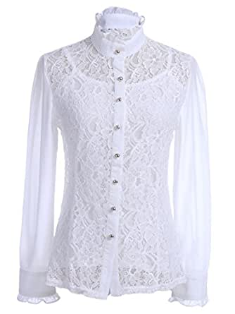 White Vintage Long Sleeve Lace Ruffle Button Up Collar Spaghetti Tank Top Set