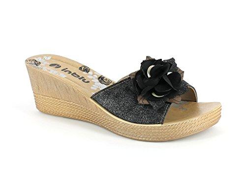 AARZ LONDON Frau Damen Frühling Sommer Offener Zeh Beiläufig Komfort Spaziergang Schlüpfen Mittel Keilabsatz Sandale Schuhe Größe Schwarz