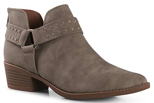 Stack Boots Platform Heel (Women's Madeline Western Almond Round Toe Slip on Bootie - Low Stack Heel - Zip Up - Casual Ankle Boot Taupe Buckle PU 6)