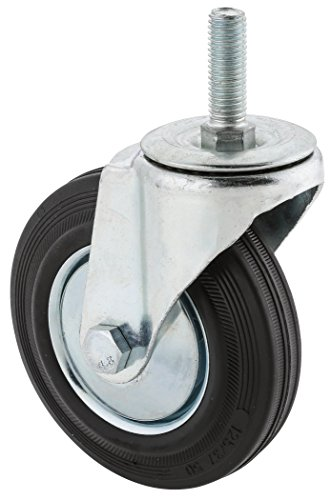 Steelex-D2544-5-Inch-220-Pound-Threaded-Swivel-Black-Rubber-Caster