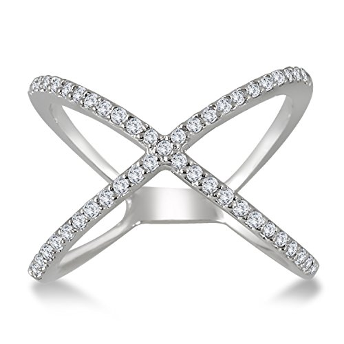 AGS Certified 1/2 Carat TW Diamond Criss Cross X Ring in 10K White Gold