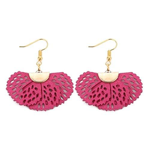 Flower Leather Dangle Drop Women's Vintage Stud Earrings Boho Water Ethnic Eardrop Charming (Rose)