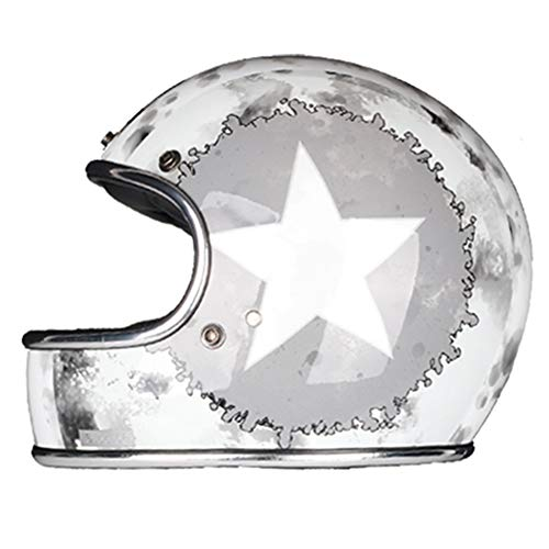 Loyasun Full Face Motorcycle Helmet Fiberglass Retro Classic Vintage Style Helmet,Chopper,Cafe Racer,Crusier,Street Bike,DOT Approved