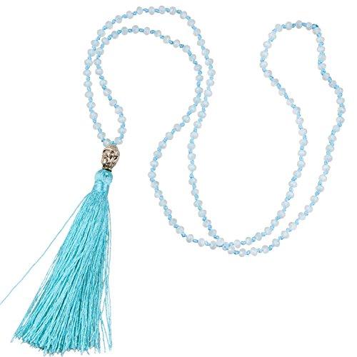 KELITCH Crystal Beaded Silver Buddha Head Blue Tassel Layering Necklace Handmade New Chains Jewelry (Blue)