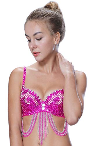 Seawhisper Pole Dance Bra Belly Dance Top 32B-34A-34B Hot Pink