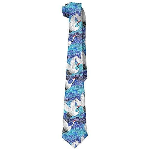 Men's Elegant Stylish Fashion Japanese Style Red-Crowned Crane Neck Ties Novelty Necktie Long Silk Tie