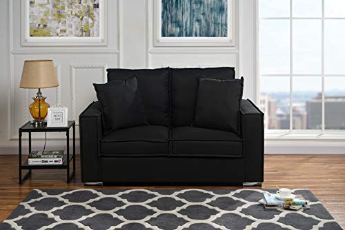 Classic Linen Fabric Sofa, Small Space Loveseat Couch (Black) ()