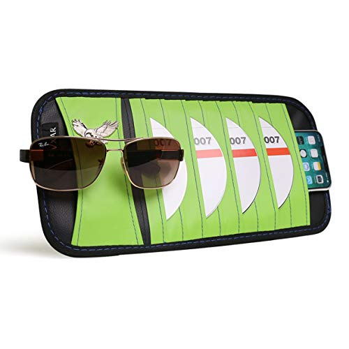 VXAR CD DVD Sun Visor Organizer Holder Car Detachable PU Auto Multi-Purpose Bag Sunglasses Eagle Badge Vehicle-Mounted 10 Pockets-Green