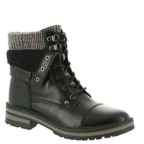 Tommy Hilfiger Womens Dyan2 Faux Leather Ankle Combat Boots Black 8 Medium (B,M)