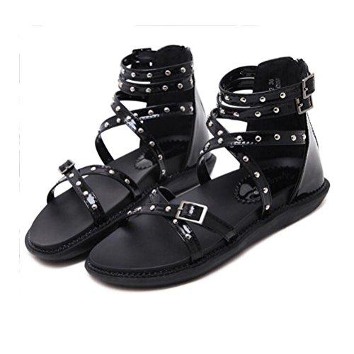 XDGG Femmes Dames Rivet Croix Ouvert Toe Confortable Talon Talon Sandales Casual Chaussures Étanche Plate-Forme Arrière Zipper 2018 Nouveau black mlIzLP