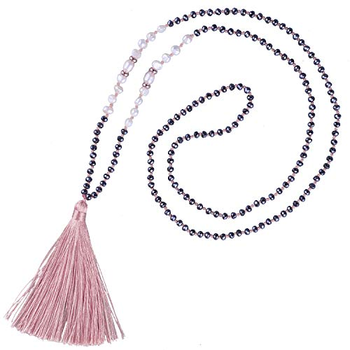 KELITCH Shell Pearls Hematite Beaded Necklace Handmade Tassels Pendants Pearl Strands Necklace Chokers Jewelry for Women (Pink I)