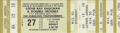 Stevie Ray Vaughan W/ Jimmie & Fabulous Thunderbirds 1986 Unused Concert Ticket