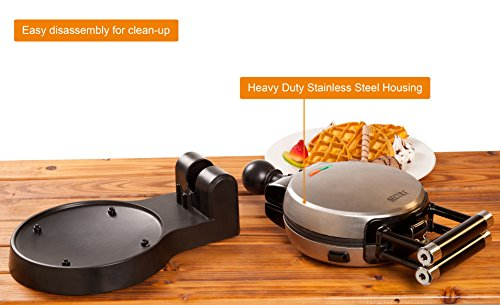 Secura Upgrade Automatic 360 Rotating Waffle Maker w/Removable Year Warranty