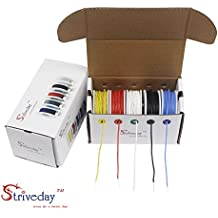Striveday™ 26 AWG Flexible Silicone Solid wire Kit box Electric wire 26 gauge Hook Up Wire 300V Cable (32.8ft Each Color)