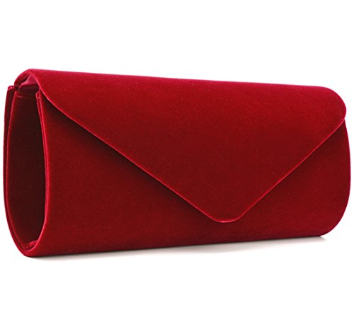 U-Story Women's Evening Wedding Party Velvet Envelope Clutch Bag Tote Purse Handbag (Wine Red)
