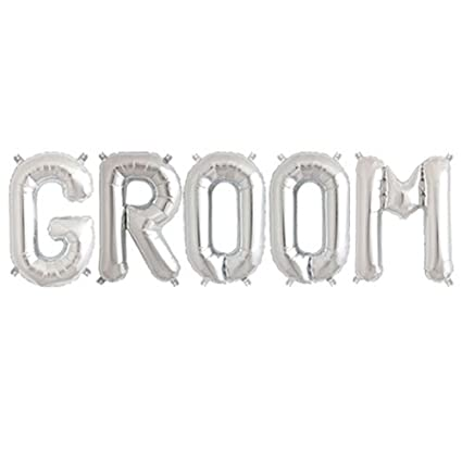 c spin 16 inch groom silver foil letter balloon 16 groomsmen bride to be