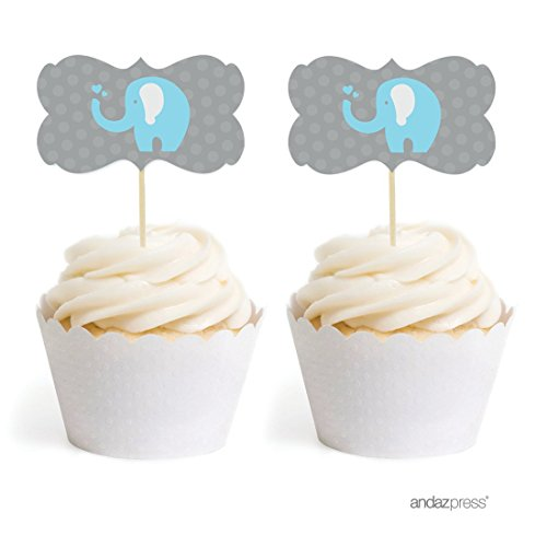 Birthday Boy Cupcake - Andaz Press Birthday and Baby Shower Cupcake Toppers DIY Party Favors Kit, Boy Elephant, Double-Sided, 18-Pack