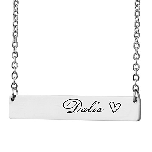 HUAN XUN Personalized Bar Custom Name Necklace Dalia Personal Womens Jewelry Birthday Gift