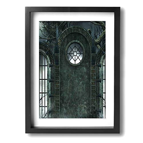 Horror House Moon Halloween Ancient Contemporary Giclee Canvas Print Framed Artwork Pictures Paintings On Wall Art For Home Office Decorations Wall Decor]()