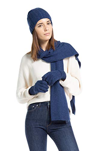 Fishers Finery Women's 100% Cashmere 3pc Knitted Hat, Glove, Scarf Gift Set - Black Label (Heather Navy)