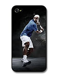 AMAF ? Accessories Roger Federer Playing Blue & Black Tennis Player case for iPhone 4 4S