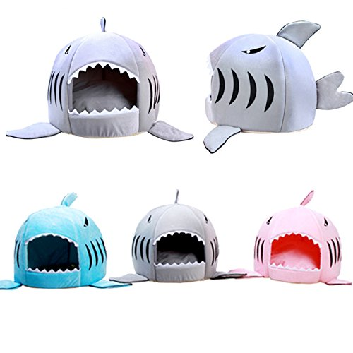 Cat Shark Fin Costume (Mufeng Pet House/Bed Four Seasons Warm Soft Shark Style Cat or Dog Sleeping Bag)