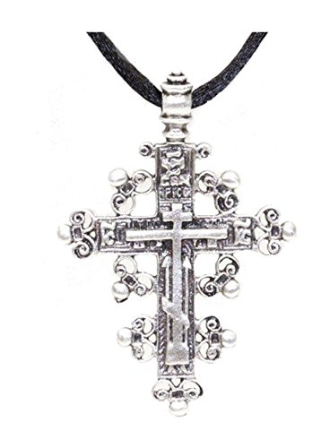 Large-225-St-Olga-Russian-Orthodox-Baptismal-Cross-Cord-Necklace-Fleur-De-Lis-36-Museum-Style-Jewelry