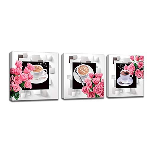 Kitchen Canvas Art Coffee Cup Canvas Rose Wall Art Deco Frame Ready to Hang - 3 Panel Modern Art Painting Contemporary Picture Catering Home Decor
