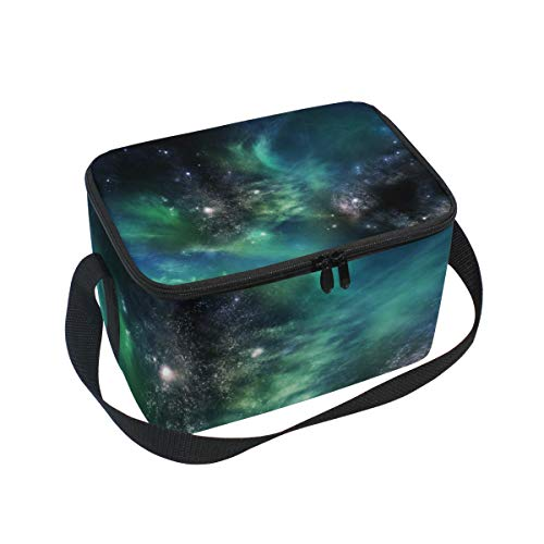 Lunch Bag Galaxies In Space Green Womens Insulated Lunch Tote Zipper Kids Lunch Box