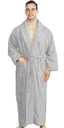 TurkishTowels Mens and Womens Original Terry Shawl Turkish Bathrobe-XL, Steel ()
